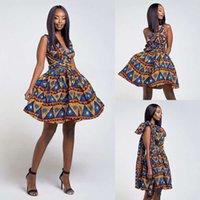 Afrika Ankara Baskı Çok Yönlü Wrap Bayan Infinity Conderable Bir Omuz V Kesim Boyun Giysileri Midi LA Için