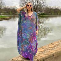 Party Dresses 2021 European And American Cotton Purple Halo Printed Beach Blouse Loose Holiday Long Bikini Hoodie