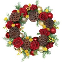 Decorative Flowers & Wreaths Artificial Christmas Wreath With Dried Lotus Rose Flower Ball For Front Door Wall Window Farmhouse Home Decorat