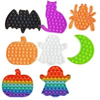 Fidget Toys Anti Stress Hand Game Silicone Push Button Dimple Decompression Pumpkin Cat Bat Ghost Spider Moon Hallowmas Gift Fidgets Toy