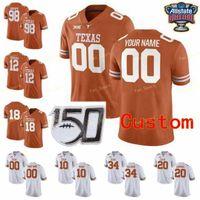 NCAA College-Trikots Texas Longhorns 12 Earl Thomas III 15 Marcus Washington 16 Jake Smith 17 Cameron Dicker Custom Football genäht