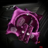 Фиолетовый хрусталь Crank Crown Acounts Interior Access Acountains Рулевое колесо Крышки рулевого колеса Плюшевые автоматические вырезы для шеи Поддержка ремесел переключатель Shifter крышка набор