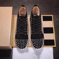 2021 Homens Mulheres Casual Sapatos Bottom Spikes Plataforma de Moda Insider Preto Vermelho Vermelho Branco Prata Couro Botas High Botas tamanho35-46 com caixa