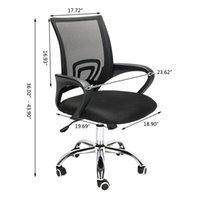 메쉬 중반 백 오피스 가구 의자 팔 스위블 의자 가스 리프트 조정 가능한 인체 공학적 홈 상업용 컴퓨터 연구 의자 블랙