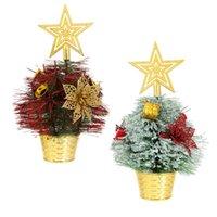 Decoraciones de Navidad 2 PCS Festivo Mini árbol Plástico Precioso Ornamento de escritorio Suministros de fiesta Adornment Shop Home