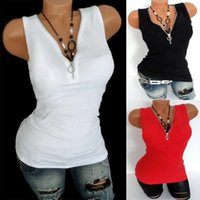 Women's Tanks & Camis Women Summer T Shirts Stretch Sexy Tee Solid Cotton Tank Tops Zipper V Neck Sleeveless Shirt Plus Size 3XL Vest