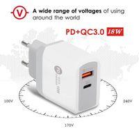 PD 유형 -C QC3.0 적응 형 고속 충전기 USB 휴대 전화 충전기 iPhone 12에 대 한 듀얼 포트 벽 여행 충전기 삼성 S20