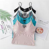 Women's Tanks & Camis 2021 Summer Seamless Cotton Tops For Women Band Lingerie Pad Vest Tube Top Tank Cross Straps Underwear Z37