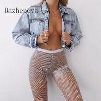 Bazhenova Kadınlar Seksi Mesh Parlak Yarık Pantolon Kızlar Tüm Maç Glamour Pantolon Bayanlar Olgun Dantel Giysileri Kadın Pantolon R1128 Kadın Capris