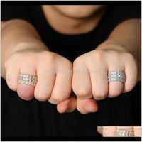 Avec des pierres latérales Drop Livraison 2021 Clair de sonneries pour hommes Hip hop luxe design de luxe Hommes Bague en diamant 18K plaqué or cuivre Zircon Enga