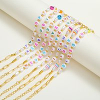 26 färgblandad färgpärlor ordarmband par personligt pappersklipparmband