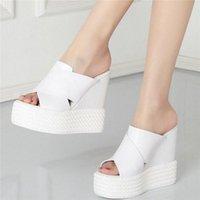 2020 mujeres cuñas de cuero genuino cuñas de tacón alto zapatillas femeninas de punta abierta de los gladiadores de la plataforma de verano zapatos zapatos casuales 53u3 #
