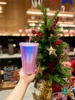 The New Starbucks Aurora dazzle colour laser durian Straw cup 473ML Mermaid plastic cold water coffee cup gift