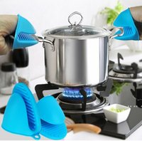 Luvas de silicone clipes antiderrapante titular tigela tigela clip clip isolamento luva de cozimento forno mitts microondas resistentes ao calor acessórios de cozinha EWF5726