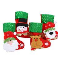 Рождественская елка висит носки льняных фестиваль яблочный подарок конфеты сумки мультфильм снежинки рождественские вечеринки камин wll571