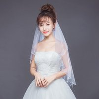 Bridal Veils 2021 Design Pearl Beaded Edge Wedding Two Layers Crystal Short White Ivory Tulle With Comb Woman Accessories