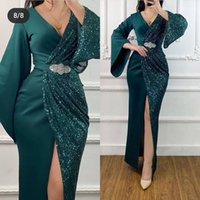 2021 Plus Size Arabic Aso Ebi Sparkly High Split Prom Dresses Deep V-neck Sheath Sequined Evening Formal Party Second Reception Bridesmaid Gowns Dress ZJ336