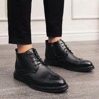 2021 erkek trendy iş yüksek-üst deri ayakkabı ayak bileği çizmeler resmi ayakkabı vintage moda ayakkabı 1