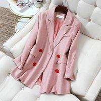 Büro Dame Rosa Blazer Frauen Frühling Herbst Langarm Mäntel Weibliche Zweireiher Tweed Jacke Frau Taschen Frauenanzüge