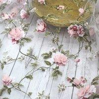3D Chiffon Rose Organza Solúvel Shabby Lace para vestido, tecido de flor de casamento bordado DIY handmade fontes de costura
