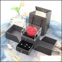 Gift Event Festive Party Supplies Home & Gardengift Wrap Valentines Day Simation Rose Soap Flower Jewelry Box Bow Necklace Pendant Ring Chri