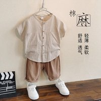 Childrens Clothing Boys Cotton And Linen Suit Summer Clothes Western Style Two Piece Striped Baby