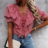 Women's Blouses & Shirts Ruffles Womens Tops And V-neck Plaid Print Falbala Lantern Short Sleeves Shirt Casual Harajuku Blusas Mujer De Moda
