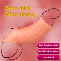 Silicone Reusable Penis Sleeve Flexible Glans Enlarger Extender Delay Ejaculation Cock Ring Adult Sex Toys For Men