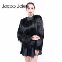 Jocoo Jolee Furry Fur Coat Women Fluffy Warm Long Sleeve Outwear Winter Coat Jacket Hairy Collarless Overcoat Oversized Y0909