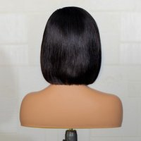 Synthetic Wigs Middle Part Black Short Cut Bob Straight Lace Front Wig For Women With Baby Hair Heat Resiatant 180%Density