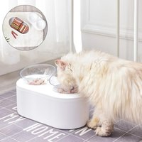 Pet Double Bowl Detachable Large Capacity Cat Feeder Split Dog Drinking Water Dish High Elevated Puppy Kitten Feeding Bowls & Feeders