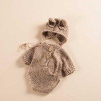 Set Knit Baby Photography Hat+Jumpsuit Clothing Cute Infant Photo Props Accessories Studio Newborn Shoot Rabbi