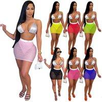 Frauen Badeanzug Nachtclub tragen sexy top + sheer miniskirt plus größe 2xl ärmelloses bh + mesh dünne einteilige kleid 2 stücke setzt dhl 4567