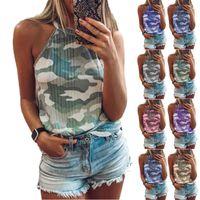 Женщины Летний Жилет Танки Женский Холтер Верх Без рукавов Рубашки Cami Ribbed Knit Camouflage Tain Tops для женщин