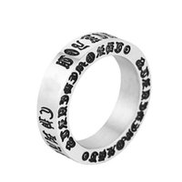 Vintage Cross Buddhist Sanskrit Six-character Mantra Titanium Band Ring Men Stainless Steel Personality Retro Styles Motorcycle Finger Rings Jewelry