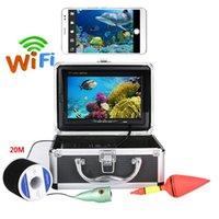 Fischfinder WIFI Wireless 7 '' Zoll 1000TVL-Videorecorder Fischerkamera für Eis / See mit 6 Stück 1W weiße LEDs App-Ansicht