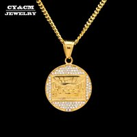 Pendant Necklaces CY&CM Mens Stainless Steel Gold Necklace The Last Supper Pendent Rhinestone Judea Jesus Medallion Charms Women Costume Jew