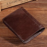 Wallets Vintage Short Men Genuine Leather Small Mens Wallet Trifold Retro Purse Male Coin Purses Mini Carteira Masculina