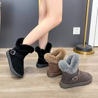 Boots Winter Shoes For Women Flat Heel Boots-Women Plush Round Toe Australia 2021 Rubber Low Ankle Ladies Fur Snow Basic With F