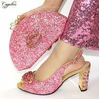 Dress Shoes Pink Women And Bag Italian Design Elegant High Heel Laides Sandals With Purse Handbag Set Pumps Clutch VC109 9CM