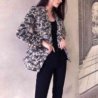 Blazers Vintage Femelle Tweed Laine Manteau de la laine automne Mince Blazer d'Ol' Femme