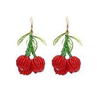 Red Cherry Beaded Dangle Orecchini Stile Coreano Donne Handmade Donne Girl Orecchini regalo Verde foglia Fruit Ear Stud 456 Z2