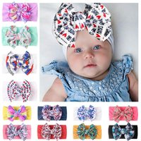 Baby Hair Accessories Girls Bowknot Nylon printing Headbands Infant Soft Knot Floral print Hairbands Head Wrap Toddlers Newborn Turban