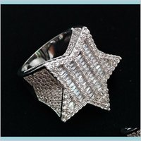 18K Gold & White Gold Mens Bling Cubic Zirconia Pentagram Hip Hop Ring Guys Full Diamond Iced Out Rapper Jewelry Gifts For Daqqc 9Qskt