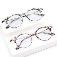 Korean trendy flower ladi half frame blue light eye glass optical eyewear for women