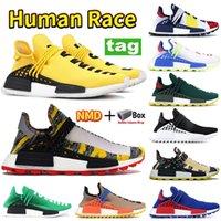 Kutu ile NMD İnsan Yarışı Koşu Ayakkabıları PW Hu PHARRELL Sarı Güneş Paketi Kırmızı Turuncu Güneş Sakin Boş Tuval Erkek Kadın Sneakers Eğitmenler