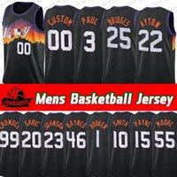 2021 Yeni Mens Jersey Devin Booker Chris 3 Paul Deandre 22 Ayton Mikal 25 Köprüler Herhangi Bir Oyuncu Özel Basketbol Formaları
