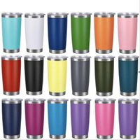 16 Colors 20oz Tumblers Stainless Steel Vacuum Insulated Double Wall Wine Glass Thermal Cup Coffee Beer Mug With Lids SEAWAY NHF10499