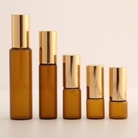 1ml 2ml 3m 5ml 10ml Amber Roll On Roller for Essential Oils Refillable Perfume Bottle Deodorant Containers with Gold lid