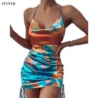 Cosygal Coulisstring Stampa Tie-Dye Satin Sexy Dress Dress Donna Pieghettato Strap Slim Backless Bodycon Abiti Donna Elagent Sumemr Casual